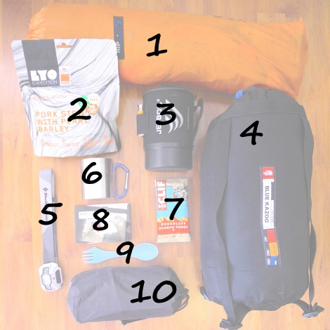 bivouac montagne sac lyophilysé, lyofood, jetboil, rechaud, couchage nortface spork thermarest husky matelas bluekazoo blackdiamond frontale storm livre point light my fire clifbar ripair tante