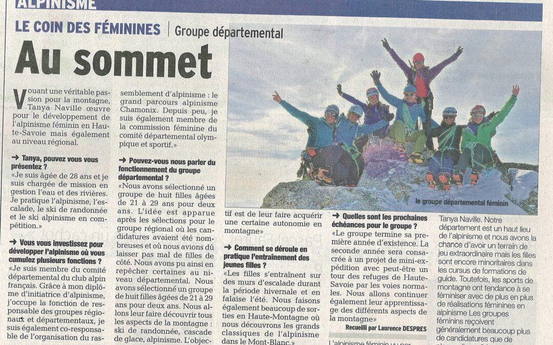 Article sur l'alpinisme au féminin (groupe CAF 74)
