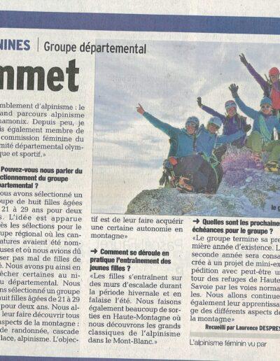 Article Le Dauphiné Libéré - Groupe alpinisme féminin Haute-Savoie