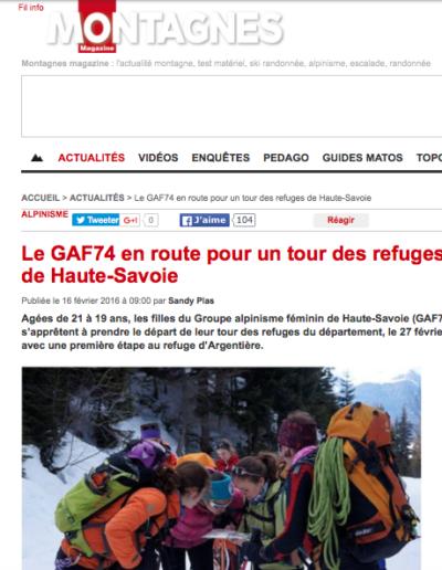 Article Montagnes Magazine - Le GAF74