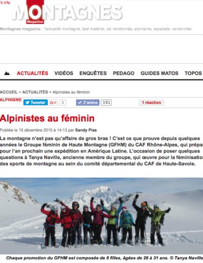 Article Montagnes Magazine - Alpinistes au féminin