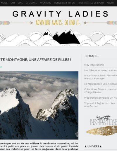 Article Gravity Ladies - La haute montagne une affaire de filles