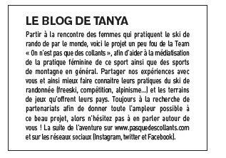 Article Magazine ESCAPE n°63 octobre 2016 - Women's skimo project