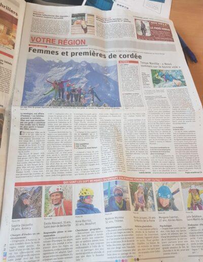 Article Le Dauphiné Libéré du 19 nov 2019 - Femmes en montagne - Interview Tanya Naville - Alpinisme au féminin